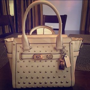 White Stud Swagger Coach bag
